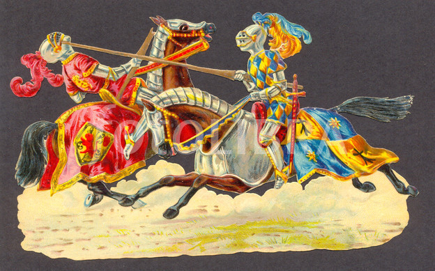 die cut scrap of medieval knights jousting