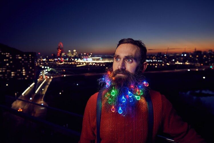 beard lights will turn your facial hair into a christmas. Black Bedroom Furniture Sets. Home Design Ideas