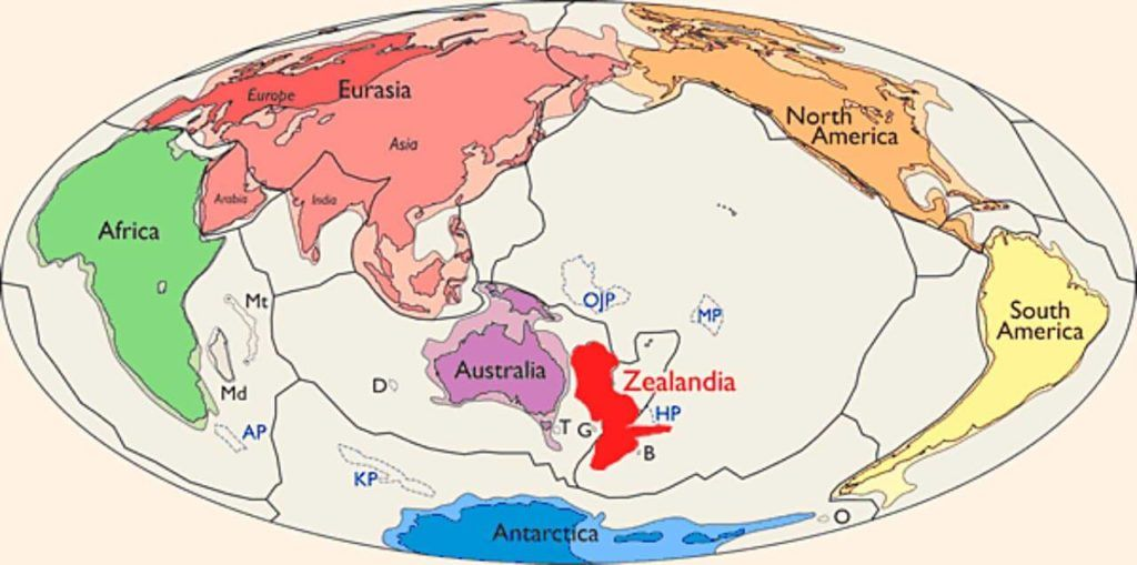 Zealandia, shown in red to the east of Australia