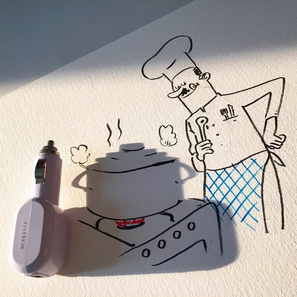 Shadow Art: Vincent Bal Turns Shadows Of Everyday Objects Into Funny Illustrations