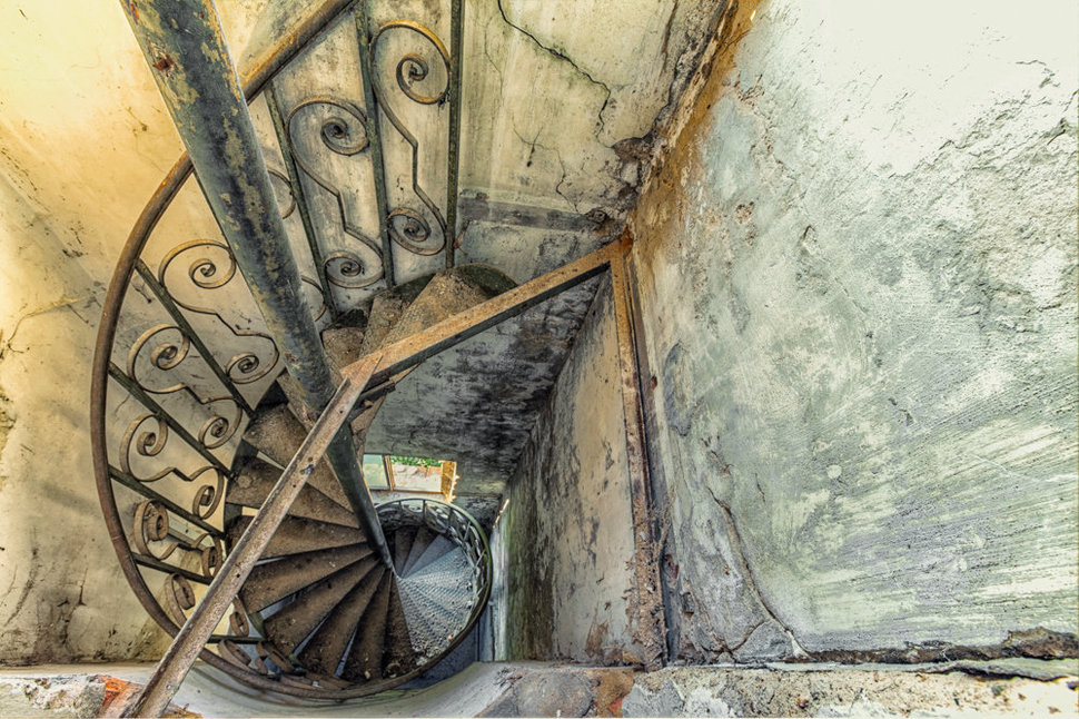 old Spiral staircase inside old tower