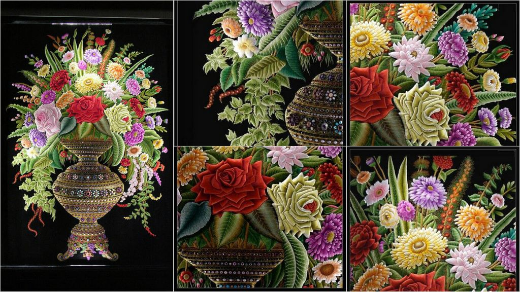 embroidery flower composition