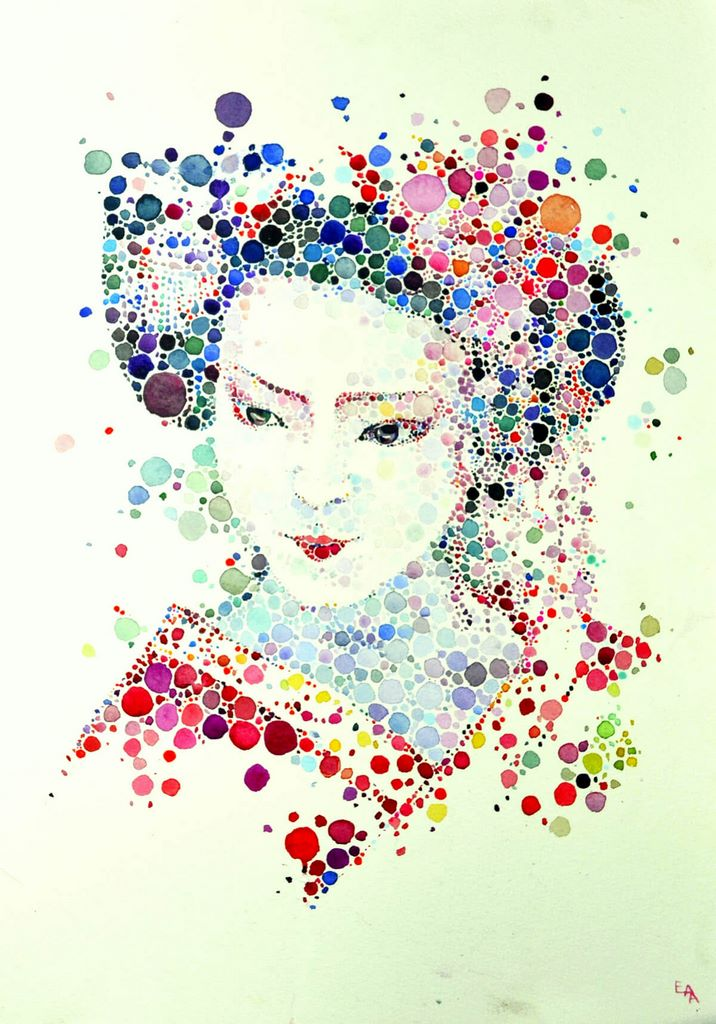 dotted watercolour painting 1