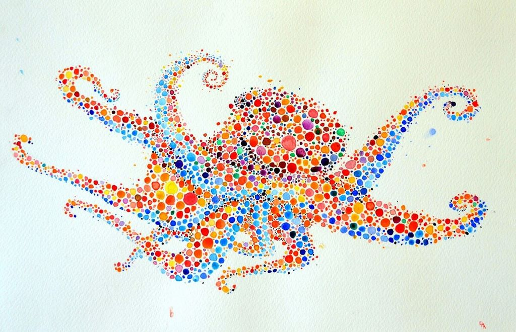 dotted watercolour painting 4