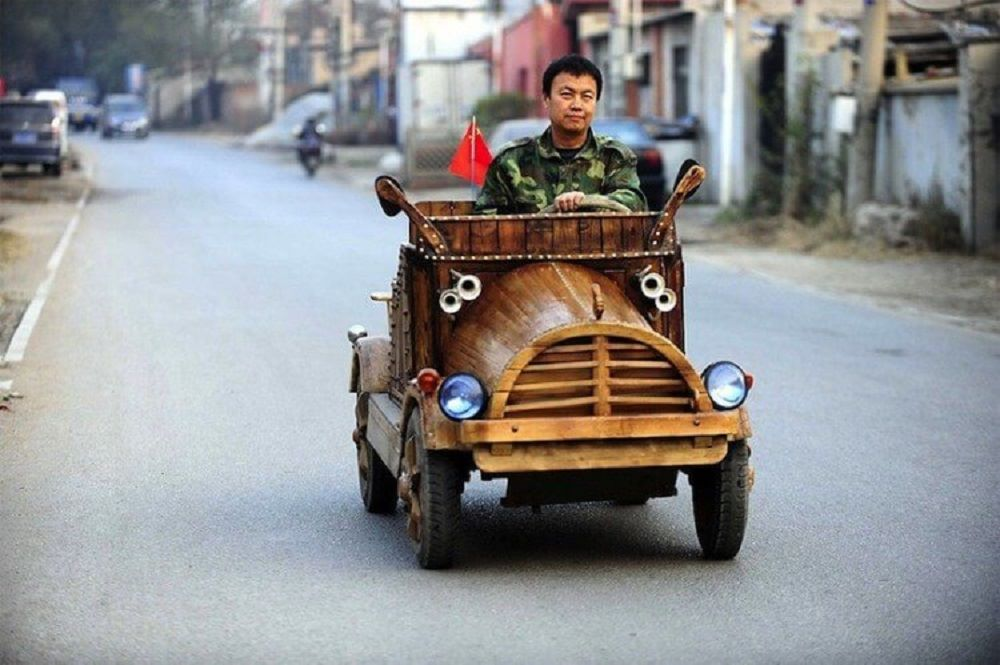Chinese Carpenter Drives A Homemade Electronic Wooden Car Look4ward