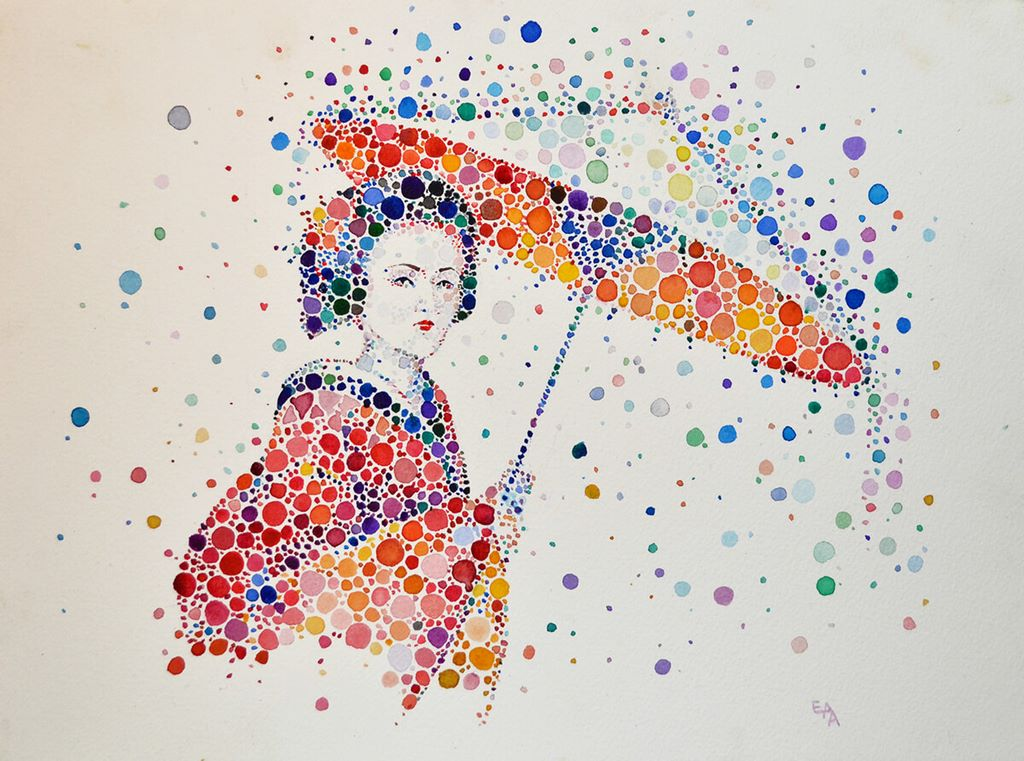 dotted watercolour painting 9