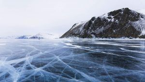 It's possible to drive on Lake Baikal in wintertime