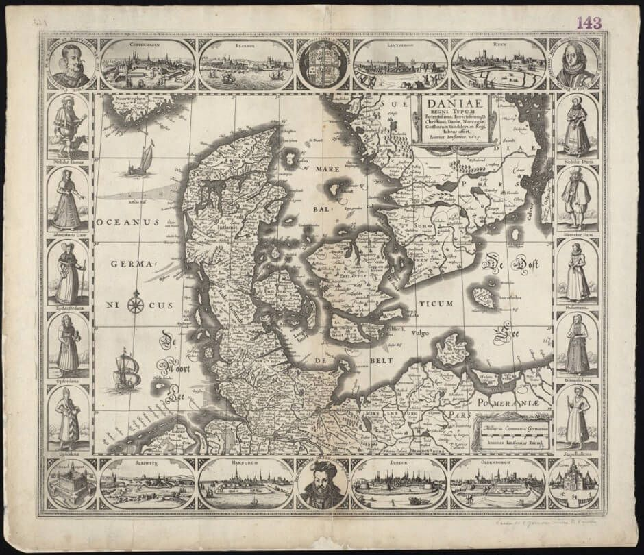 """Daniae Regni Typum Potentissimo Invictissimoque,"" 1629. This map of Denmark, where Hamlet is set, depicts the country's different social groups through drawings of men and women in different dress."
